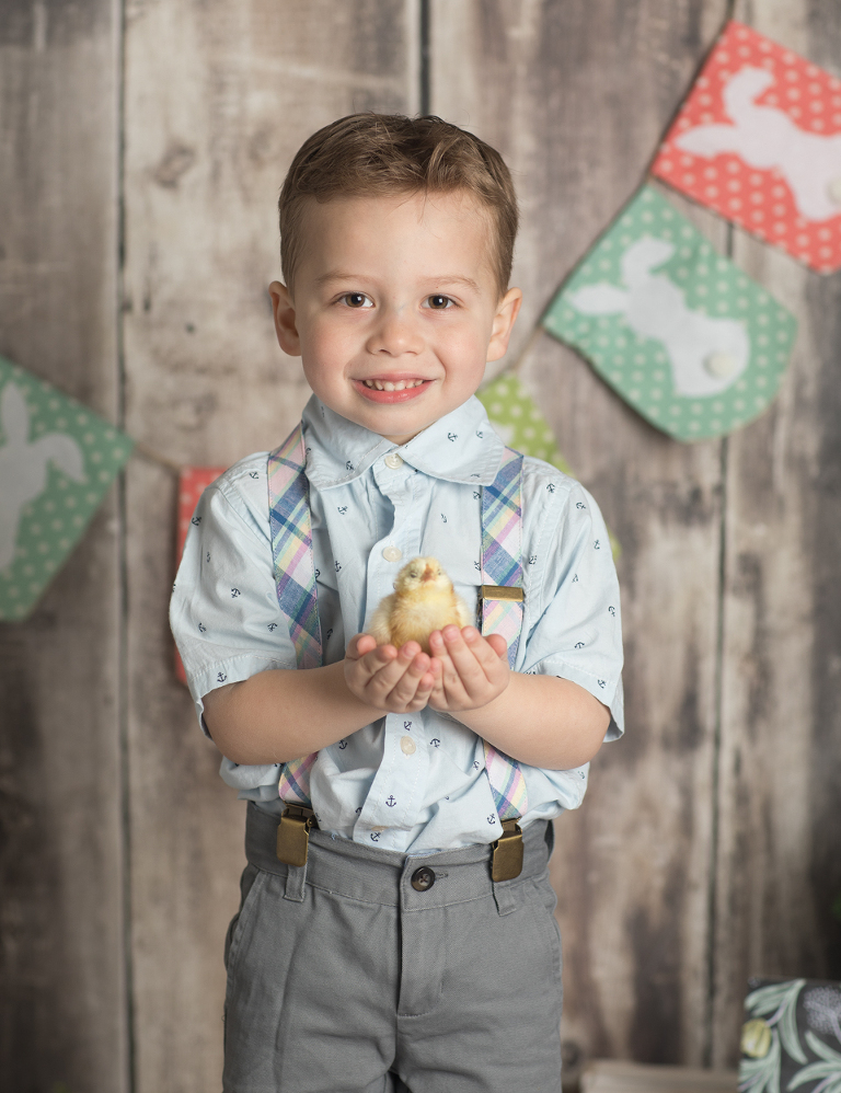 Easter mini sessions with baby chick in studio at Real Image Photography