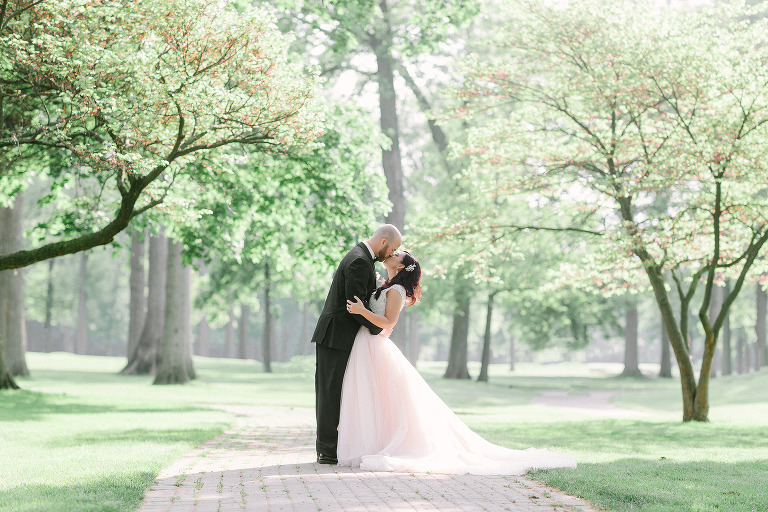 Bride and groom photo on their wedding day in Windsor Ontario